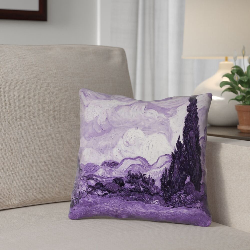 Lapine Wheatfield with Cypresses Square Indoor Pillow Cover Size: 14