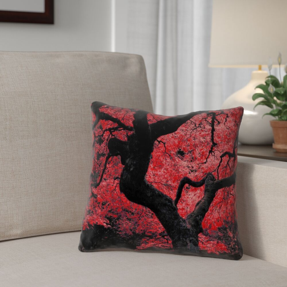 Ghost Train Japanese Maple Tree Printed Pillow Cover Size: 20