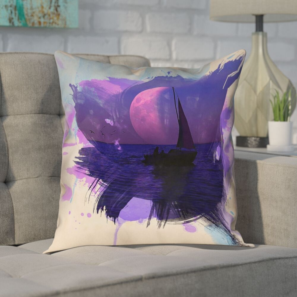 Houck Watercolor Moon and Sailboat Square Pillow Cover Size: 20