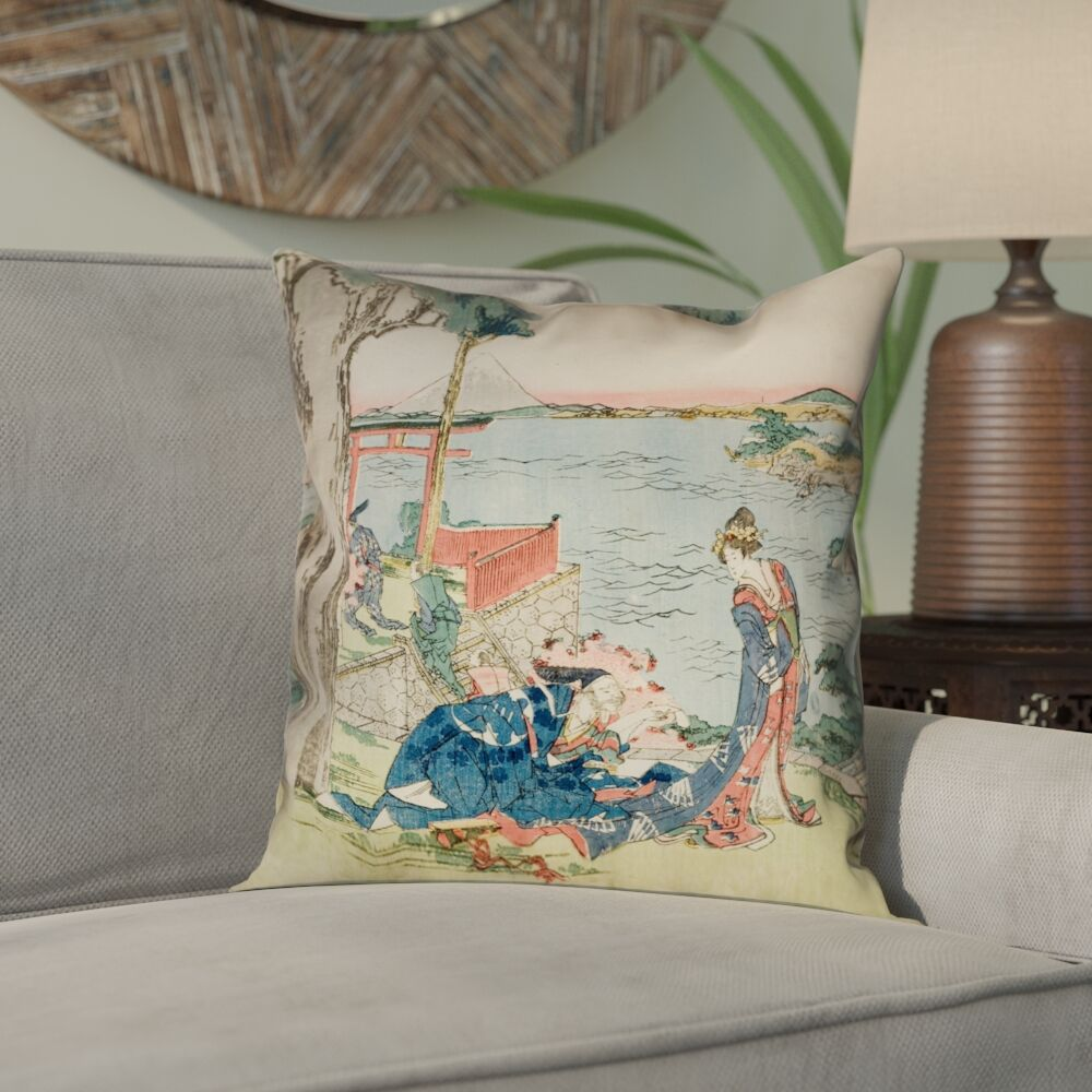 Enya Japanese Courtesan 100% Cotton Twill Pillow Cover Size: 18