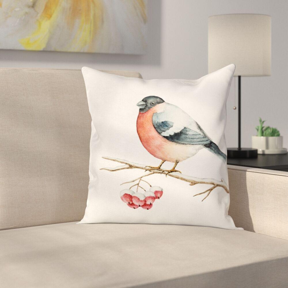 Cute Wild Bird Watercolor Square Pillow Cover Size: 18