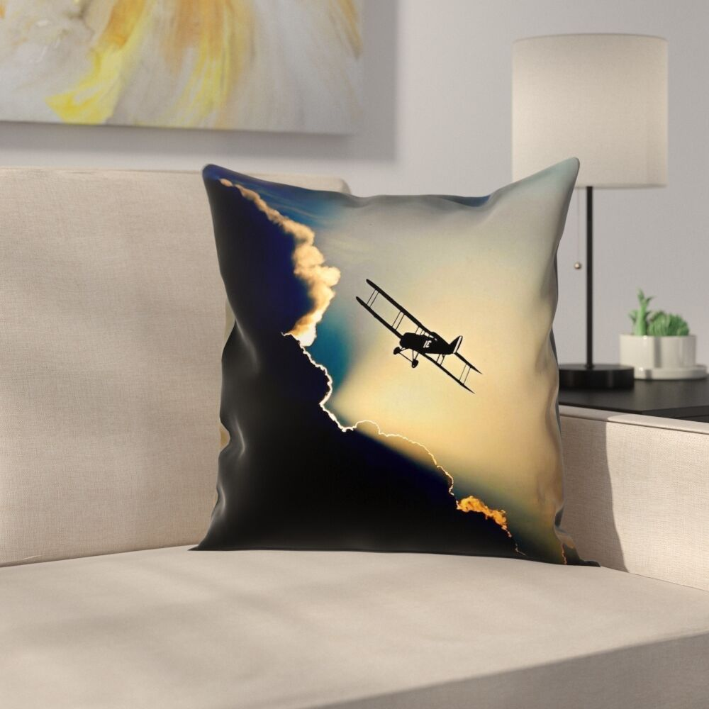 Plane in the Clouds Linen Pillow Cover Size: 20