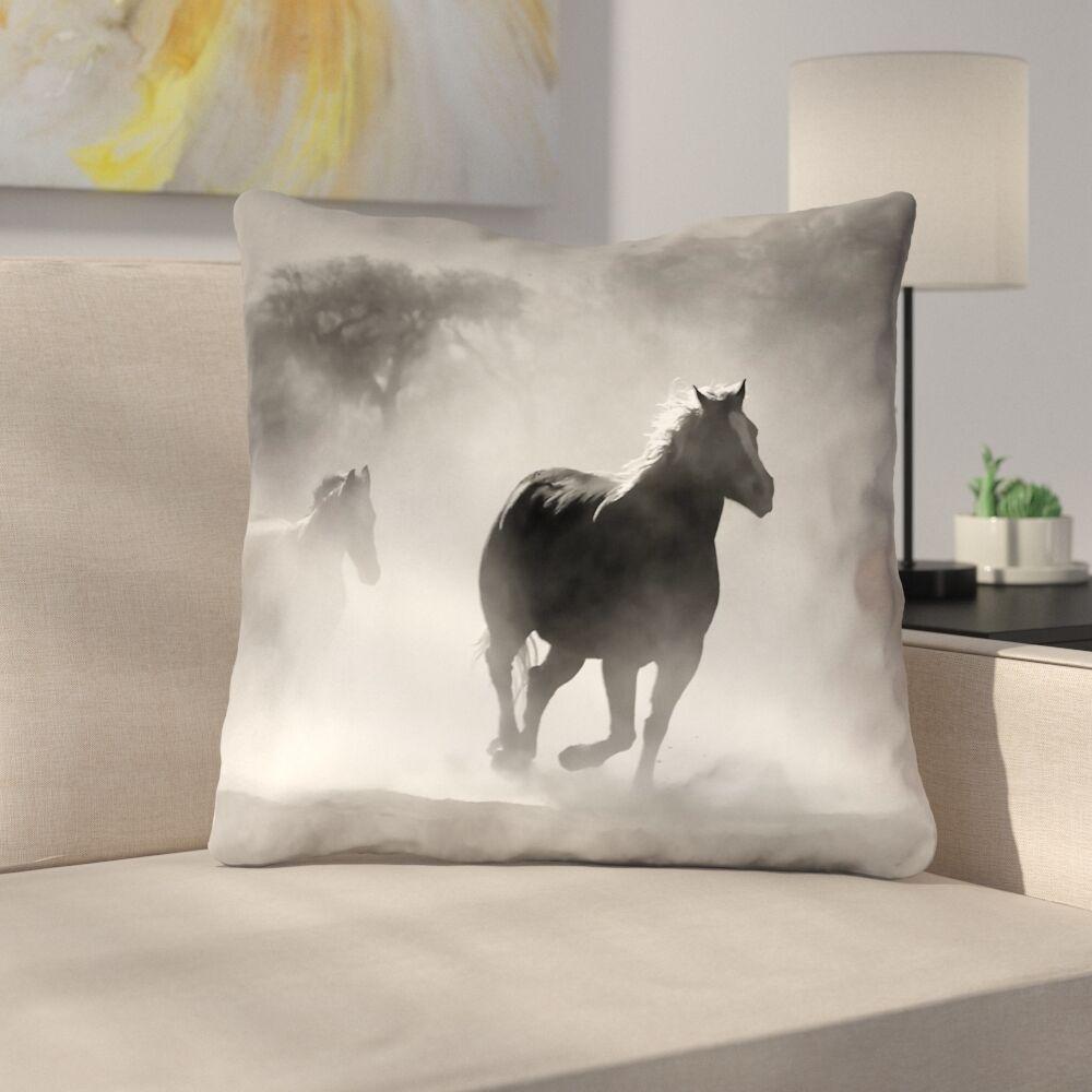 Aminata Galloping Horses Double Sided Print 100% Cotton Throw Pillow Size: 26