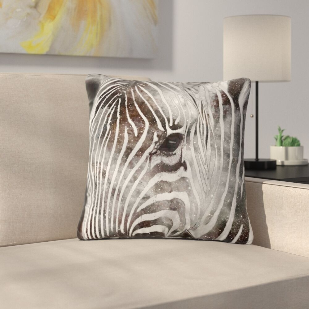 Suzanne Carter Space Zebra Celestial Stripes Outdoor Throw Pillow Size: 18