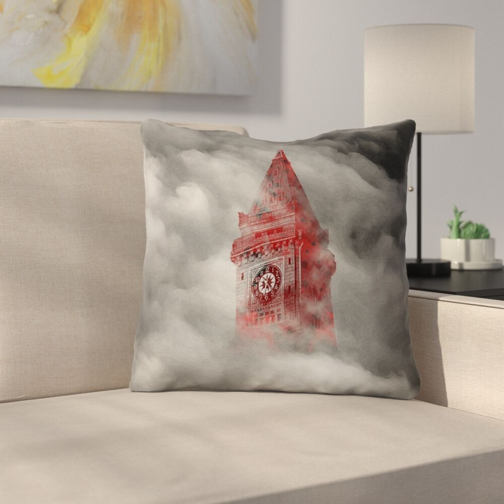 Watercolor Gothic Clocktower Throw Pillow with Concealed Zipper Size: 16