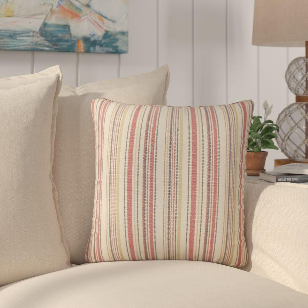 Torington Striped Cotton Throw Pillow Color: Red
