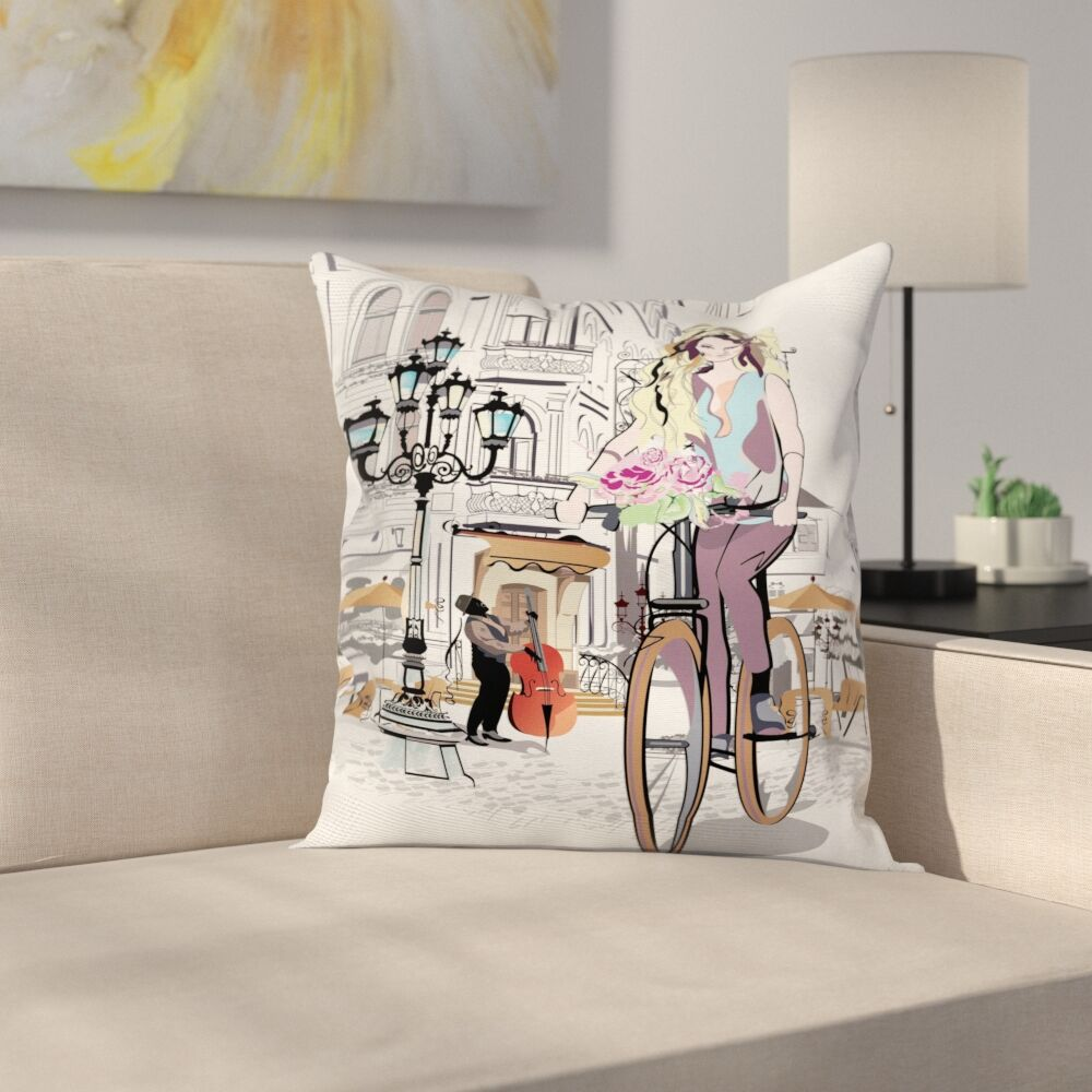 Girl Lady Rides Bicycle Roses Square Pillow Cover Size: 18