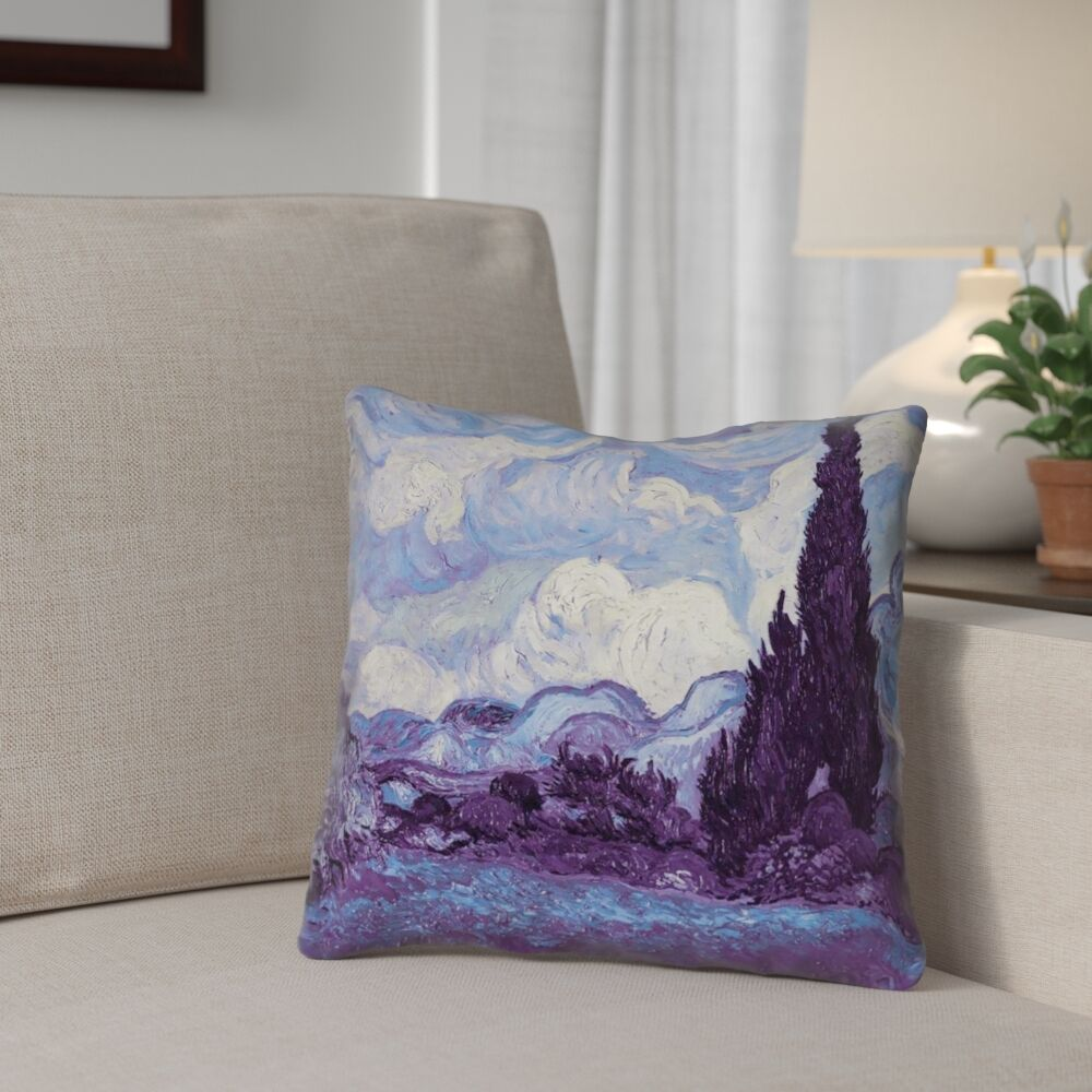 Morley Wheat Field with Cypresses Double Sided Print Pillow Cover Size: 14