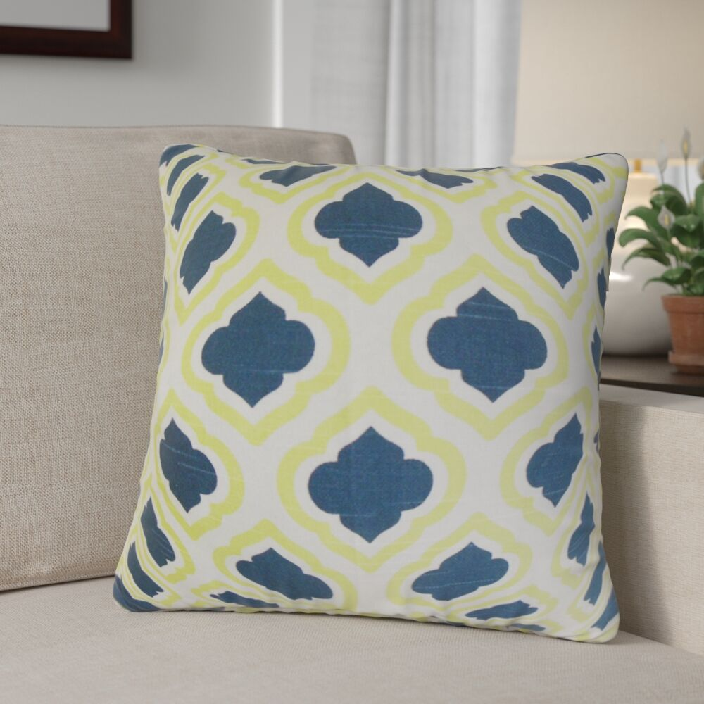 Maryclaire Geometric Cotton Throw Pillow Color: Yellow/Blue