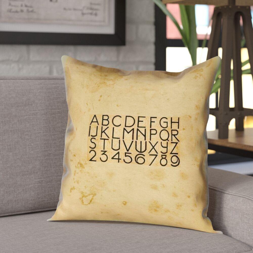 Daniyar Vintage Typography Square Pillow Cover Size: 16