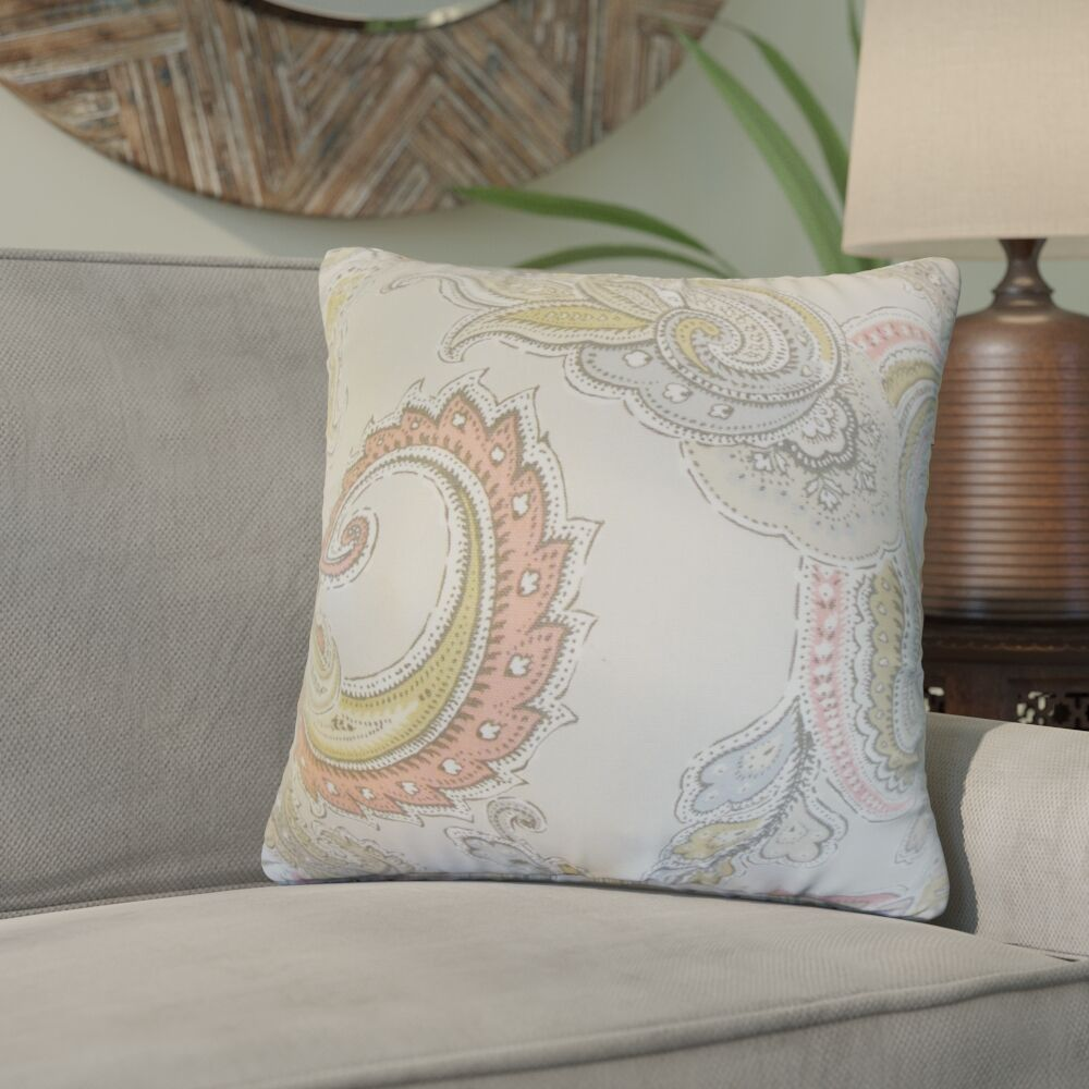 Giovanna Paisley Cotton Throw Pillow Color: Clush