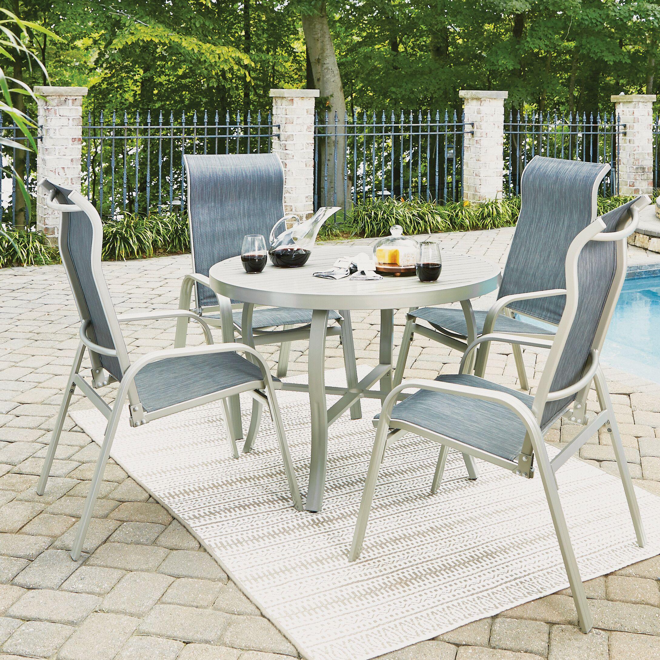 Dinan Outdoor 5 Piece Dining Set Table Size: 28.75