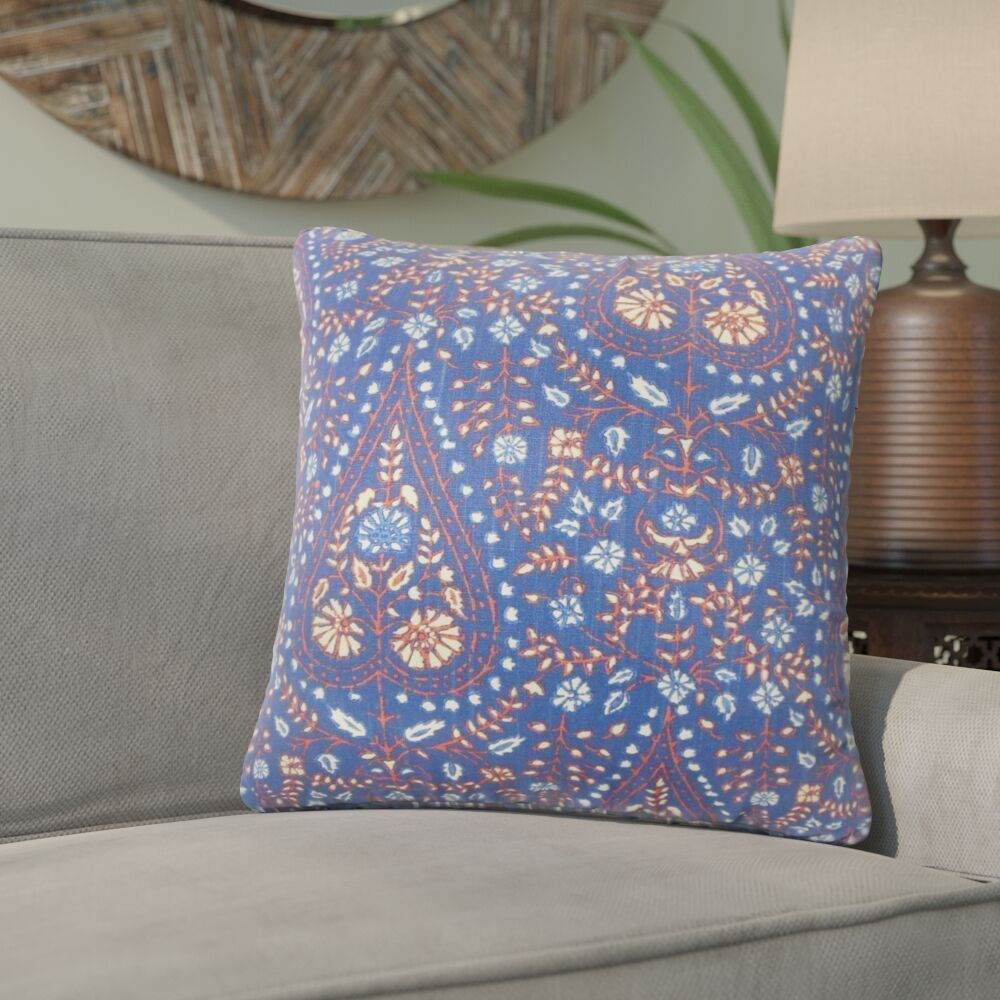 Willene Ikat Cotton Throw Pillow Color: Indigo