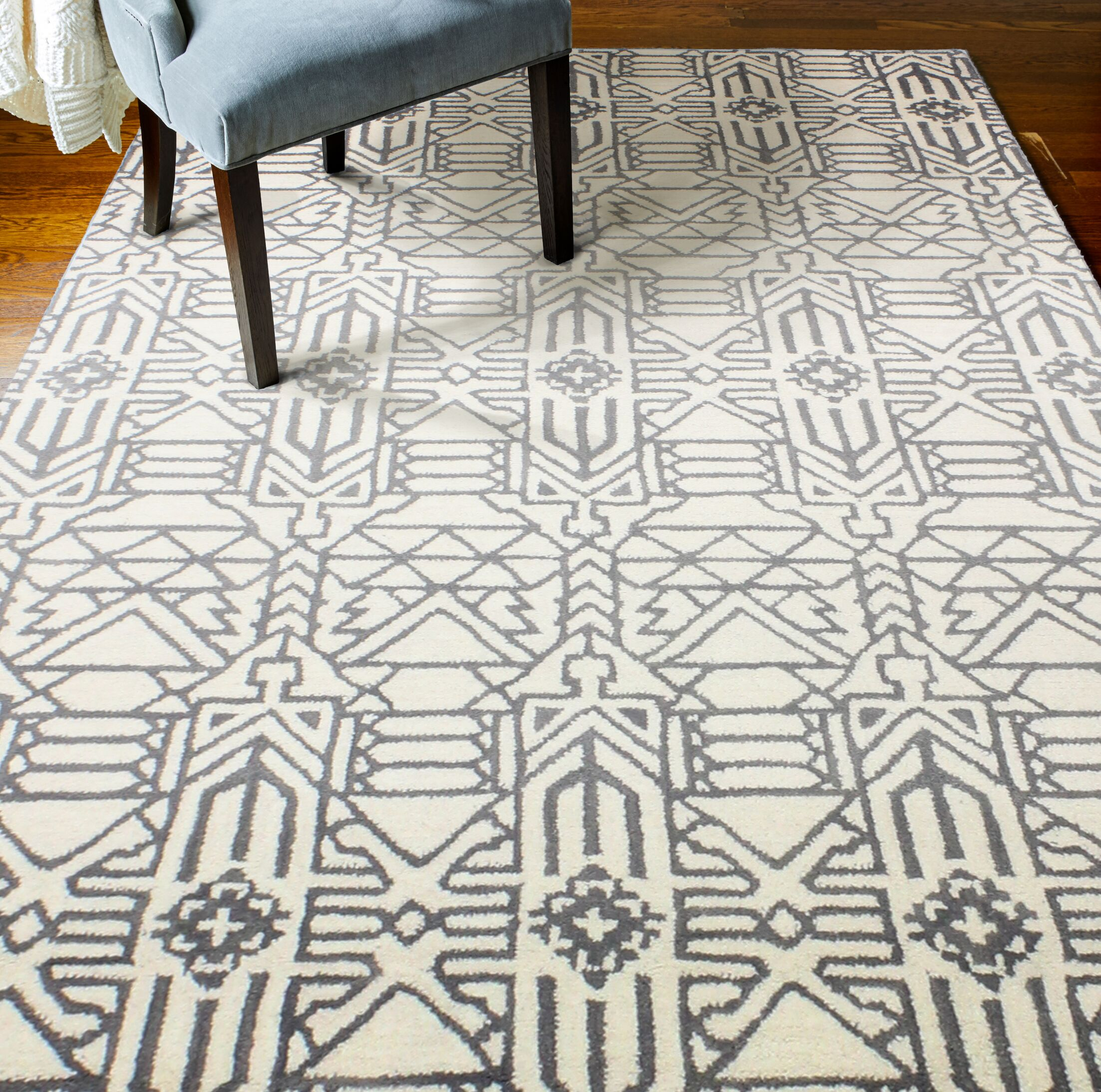 Lonergan Hand-Woven Wool Ivory/Gray Area Rug Rug Size: Rectangle 3'6