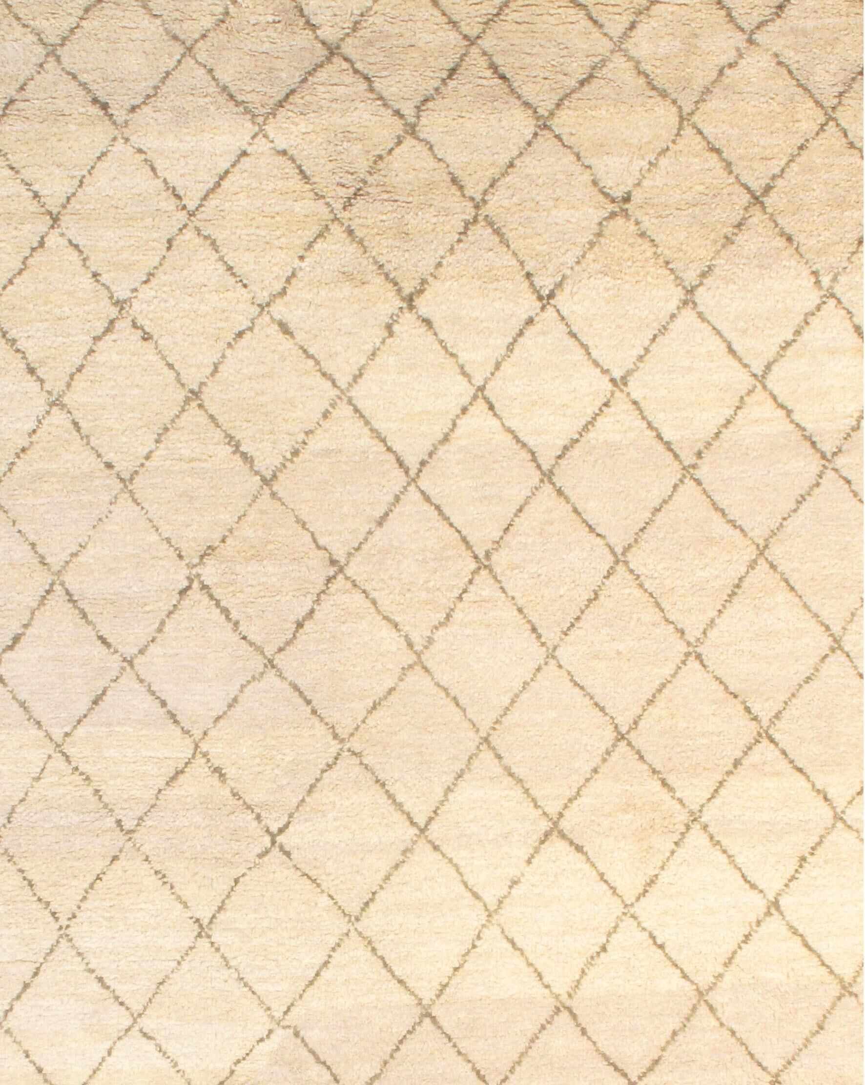 Moroccan Modern Hand-Knotted Wool Ivory Area Rug Rug Size: Rectangle 6'1
