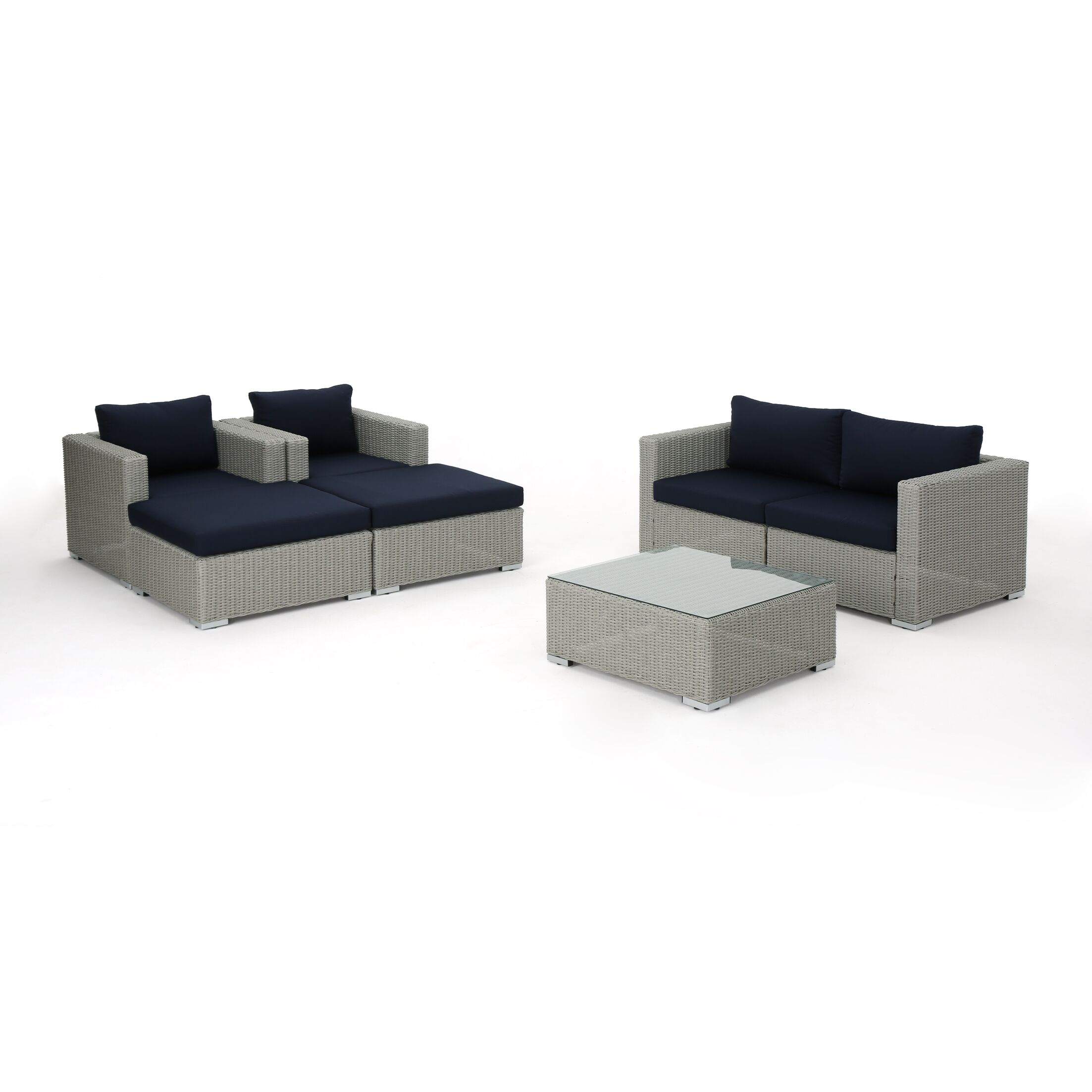 Cullum 7 Piece Sectional Set with Cushions Cushion Color: Navy Blue