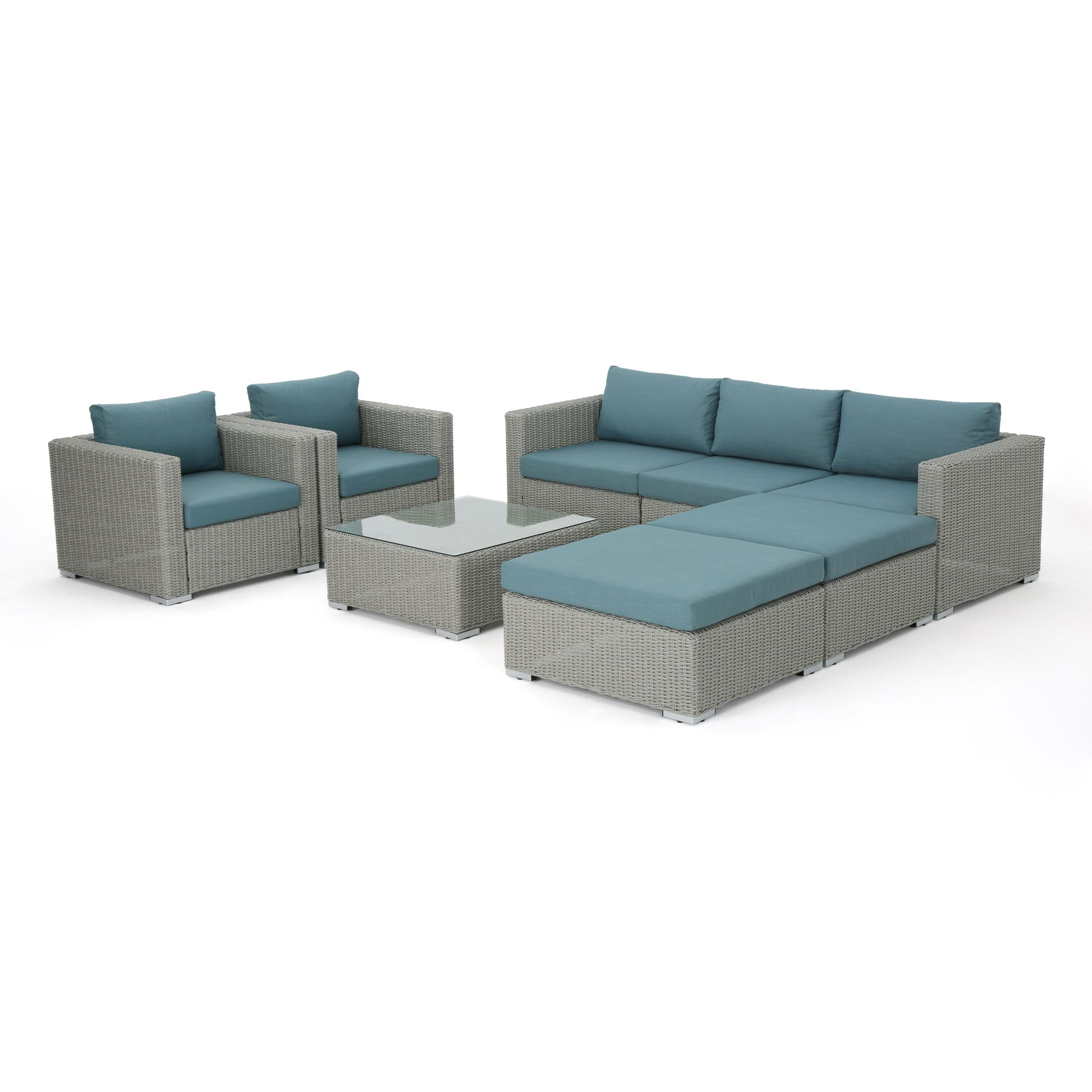 Cullum 8 Piece Sectional Set with Cushions Cushion Color: Teal