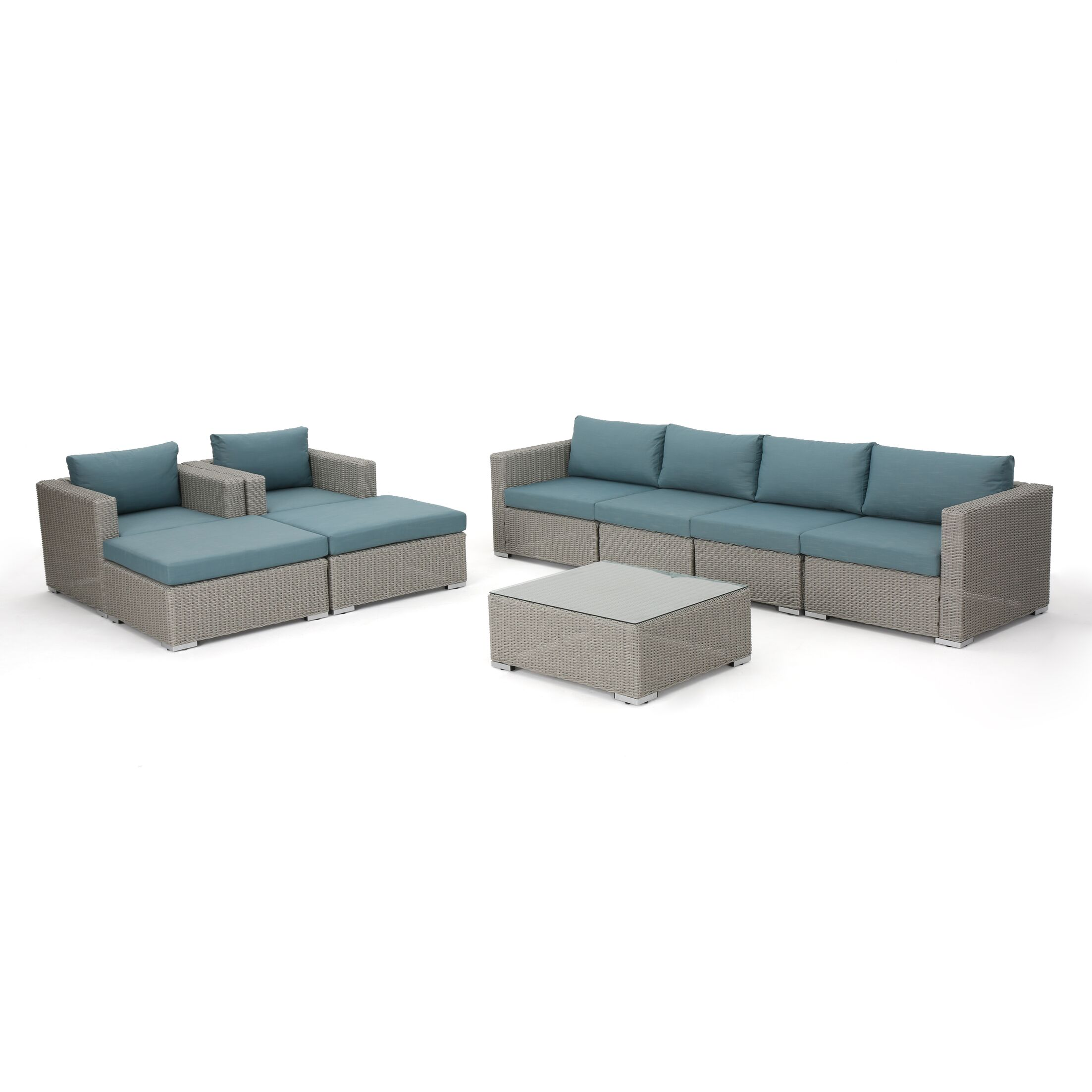 Cullum 9 Piece Sectional Set with Cushions Cushion Color: Teal