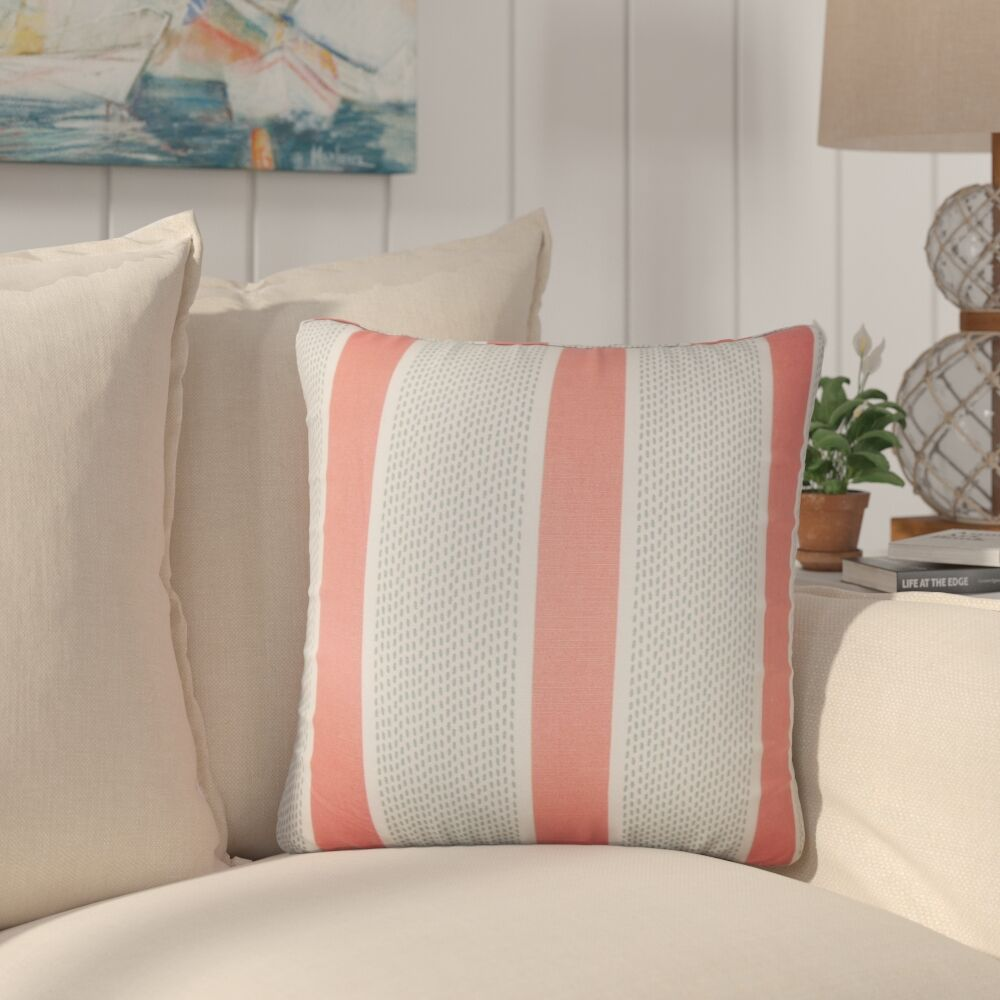 Varela Striped Cotton Throw Pillow Color: Sapphire