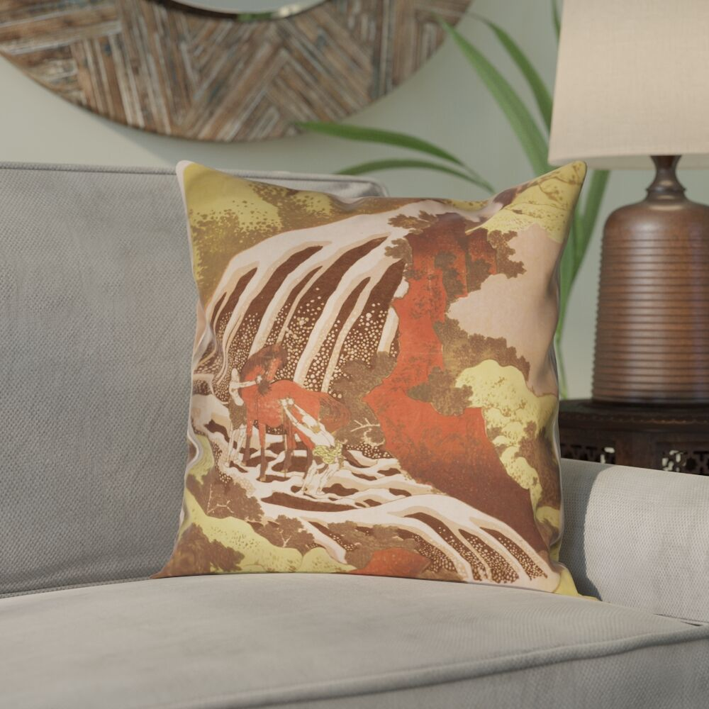 Channelle Horse and Waterfall 100% Cotton Throw Pillow Size: 18