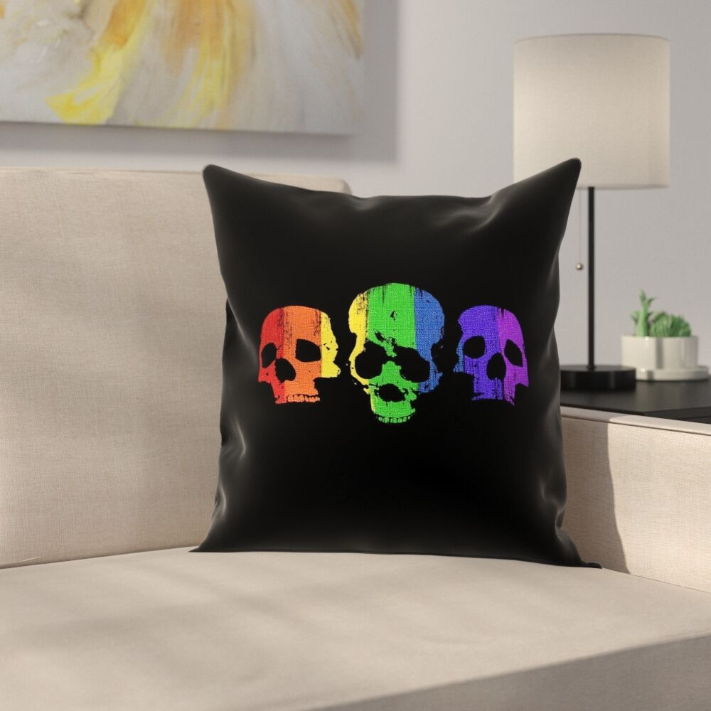 Rainbow Skulls Pillow Cover Size: 18
