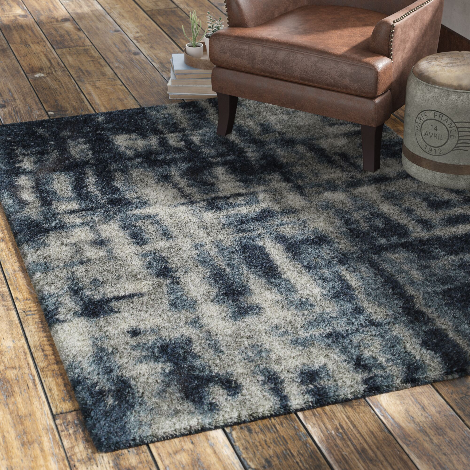 Zhora Navy Area Rug Rug Size: Rectangle 7'10