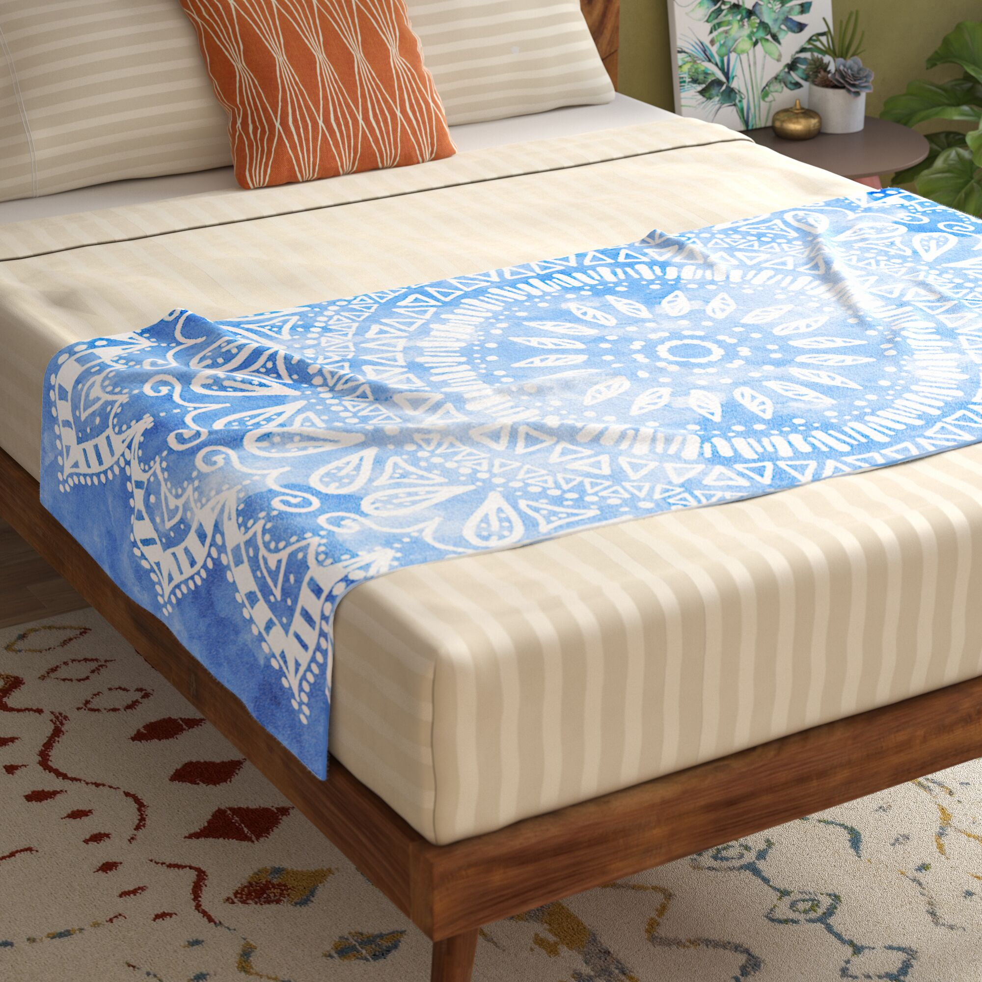 Nika Martinez Boho Flower Mandala Bed Runner Color: Blue/Aqua
