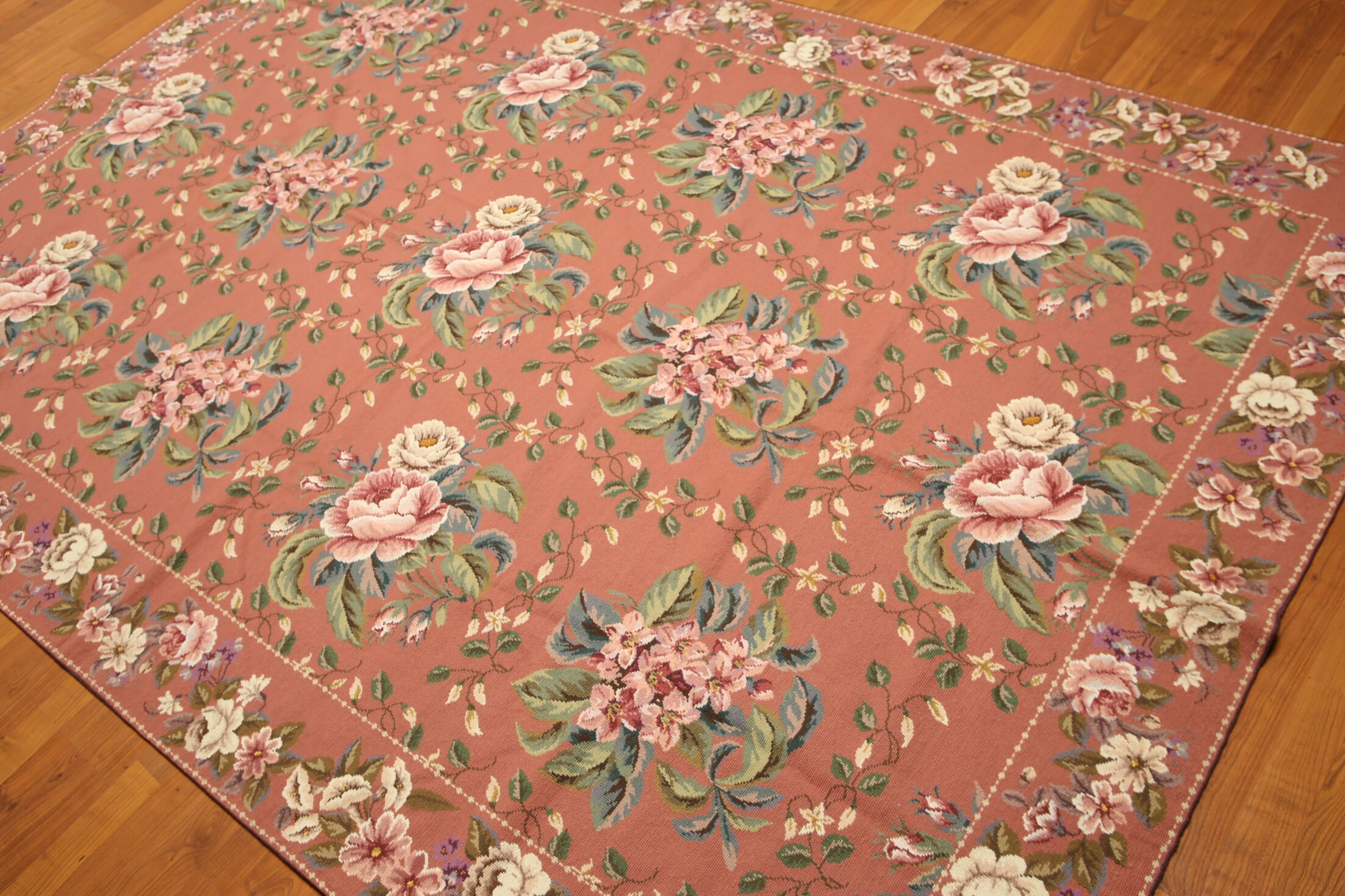 One-of-a-Kind Reber Needlepoint Hand-Knotted Wool Rose/Blue Area Rug