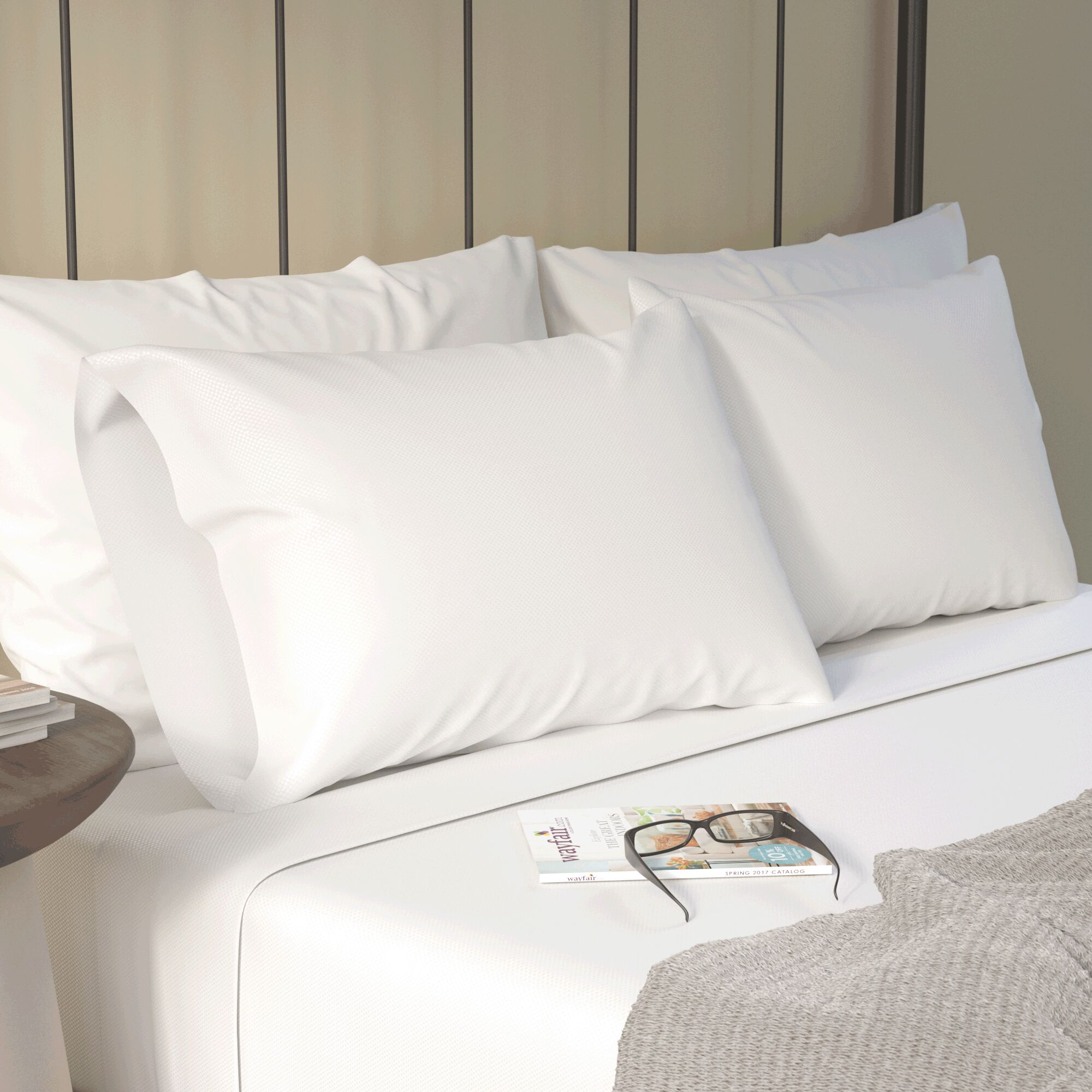 Canning Checkered Sheet Set Color: White, Size: King