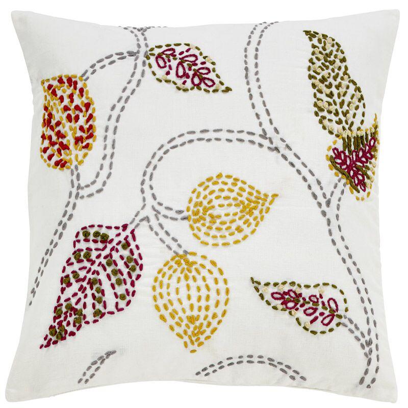 Gailey Crewel Floral Linen Pillow Cover