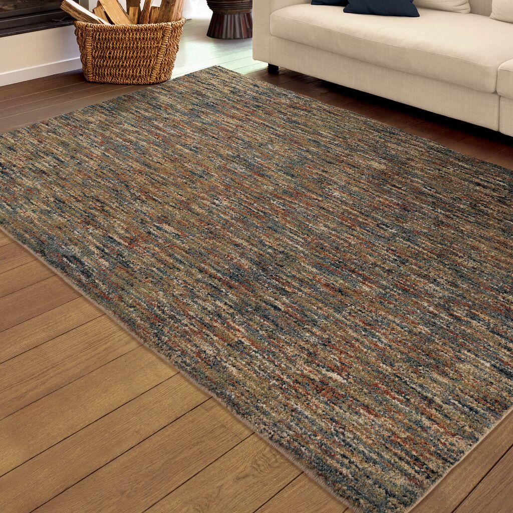 Castlewood Solid Design Blue/Red Area Rug Size: Rectangle 7'6