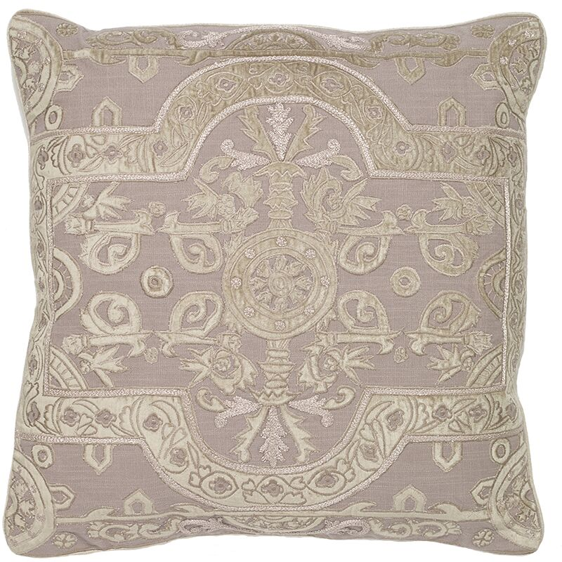 Ivymore Louis Applique Embroidery Pillow Cover Color: Beige
