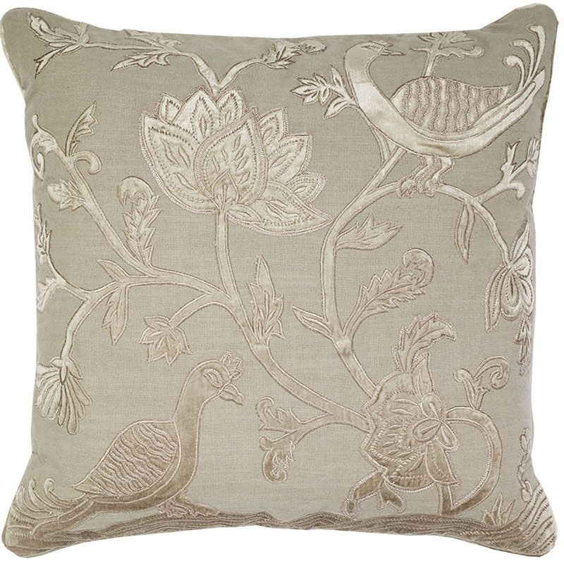 Adger Floral Bird Applique Embroidery Pillow Cover Color: Beige