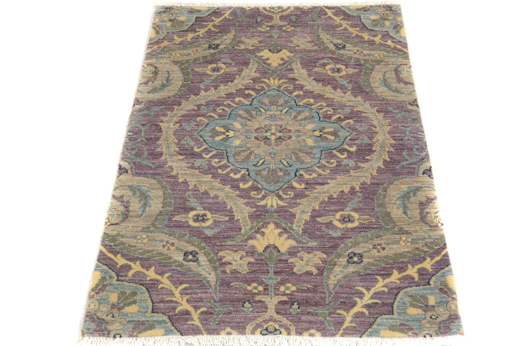 One-of-a-Kind Palmquist Hand-Knotted Wool Purple/Beige Area Rug