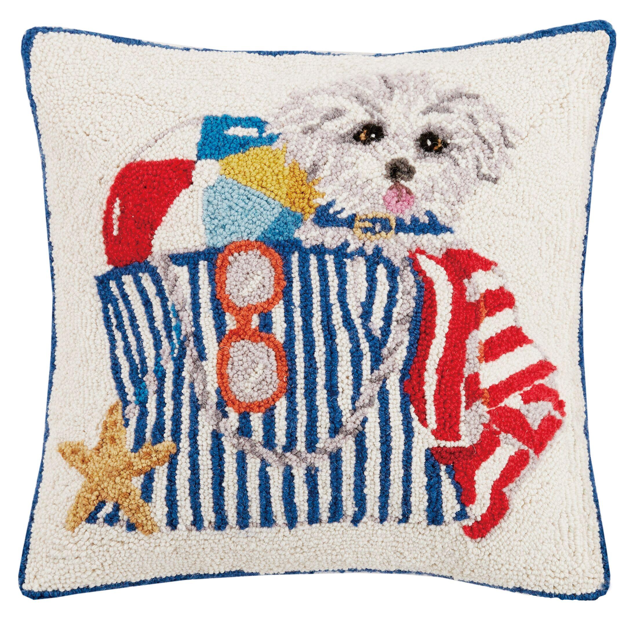 June Puppy Beach Bag Hook Wool Throw Pillow