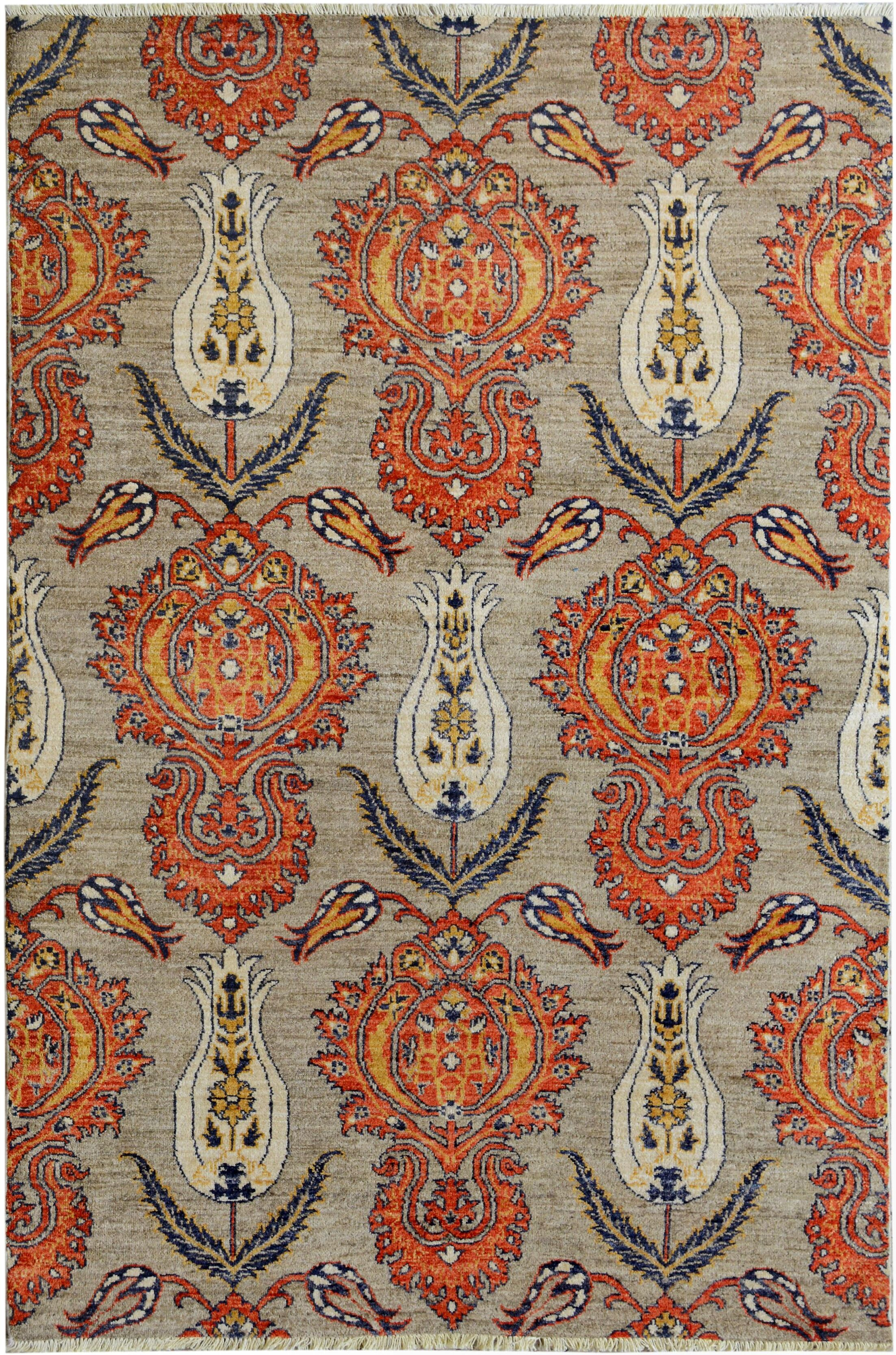 One-of-a-Kind Palmquist Hand-Knotted Wool Gray/Red Area Rug