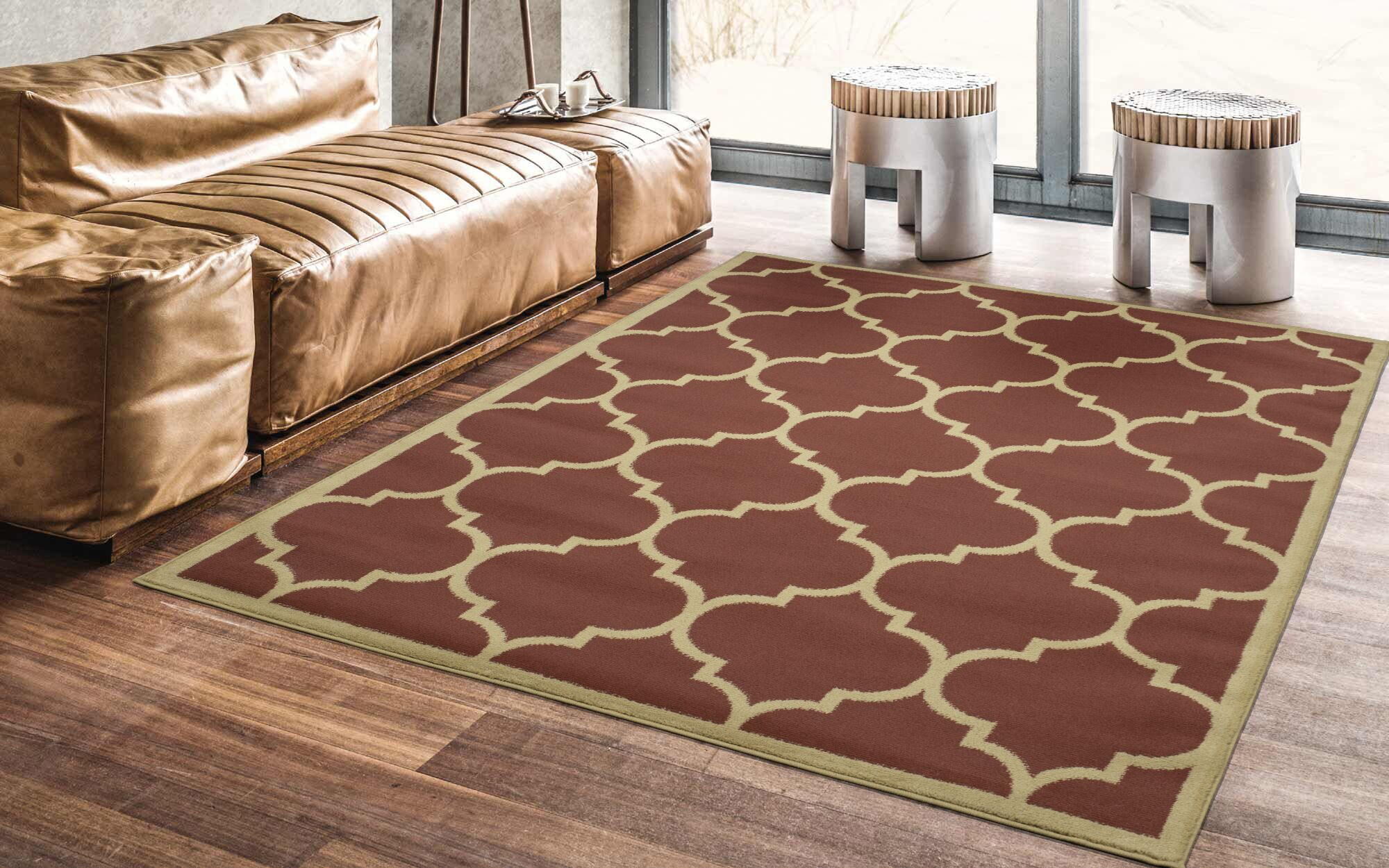 Hoehn Contemporary Moroccan Trellis Design Lattice Terracotta Area Rug Rug Size: Rectangle 7'10