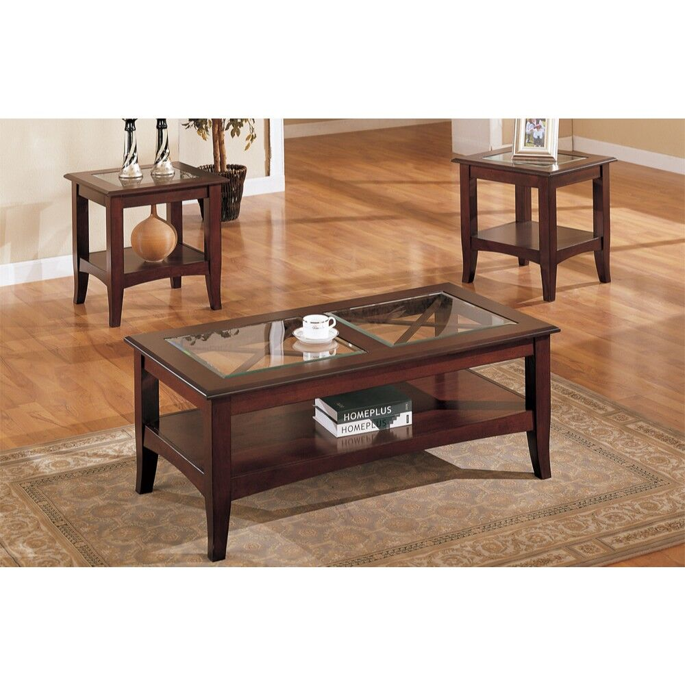 Holte Wooden 3 Piece Coffee Table Set with Glass Top