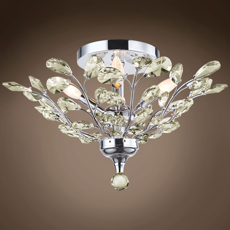 Meghans 4-Light Flush Mount Bulb Type: No Bulbs, Crystal Grade: European, Crystal Color: Golden Teak