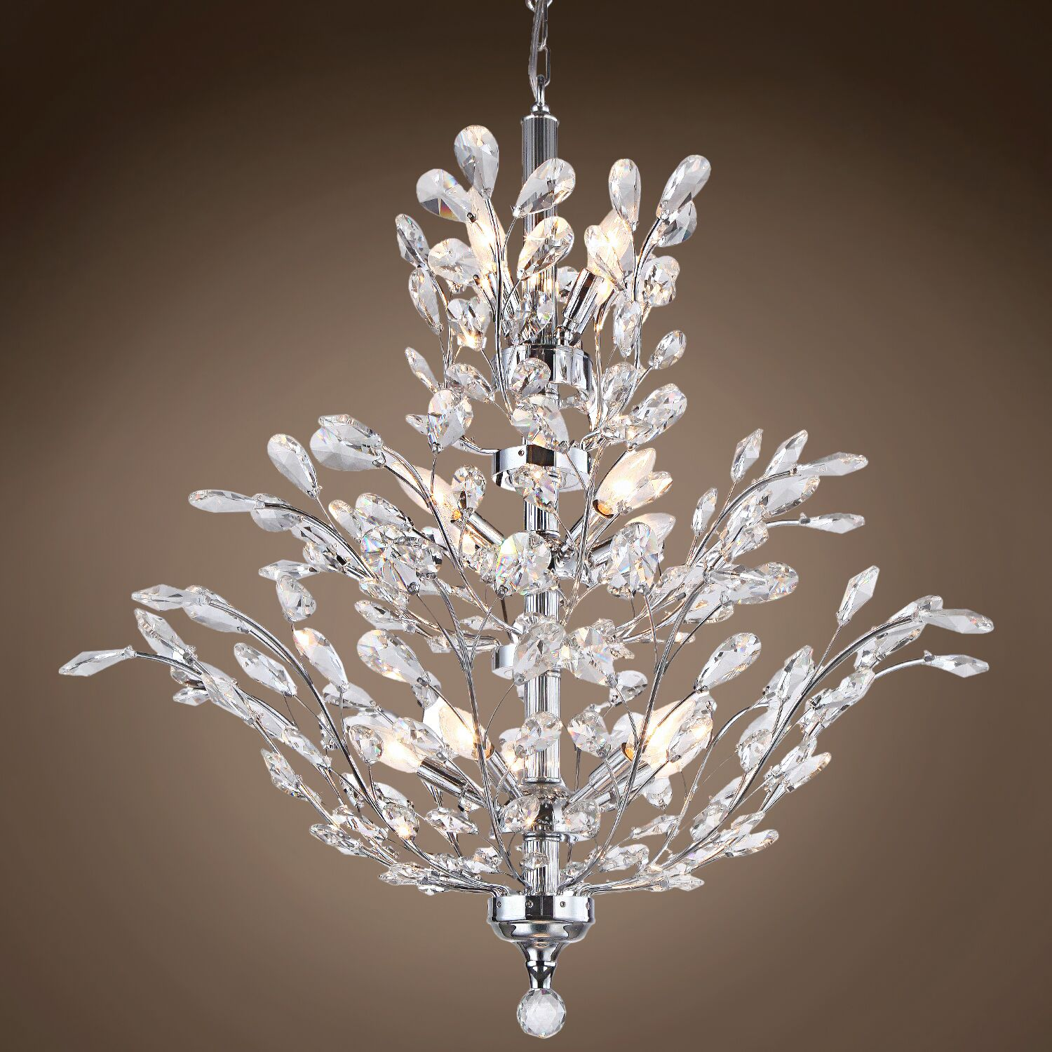 Meehan 18-Light Candle Style Chandelier Finish: Clear, Crystal Grade: Asfour, Bulb Type: LED