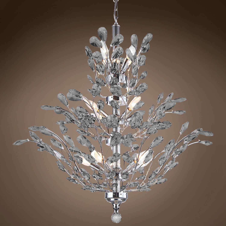 Meehan 18-Light Candle Style Chandelier Finish: Smoke, Crystal Grade: European, Bulb Type: No Bulbs