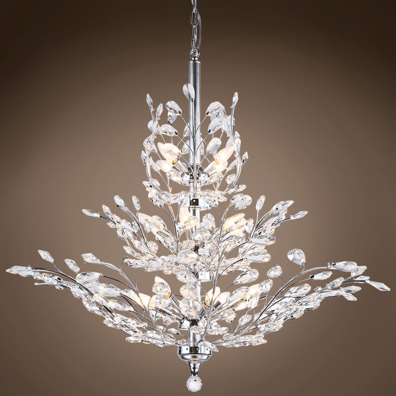 Mefford 13-Light Candle Style Chandelier Finish: Clear, Crystal Grade: European, Bulb Type: No Bulbs