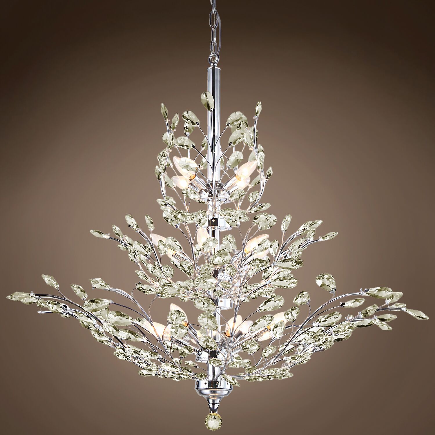 Mefford 13-Light Candle Style Chandelier Finish: Golden Teak, Crystal Grade: European, Bulb Type: No Bulbs
