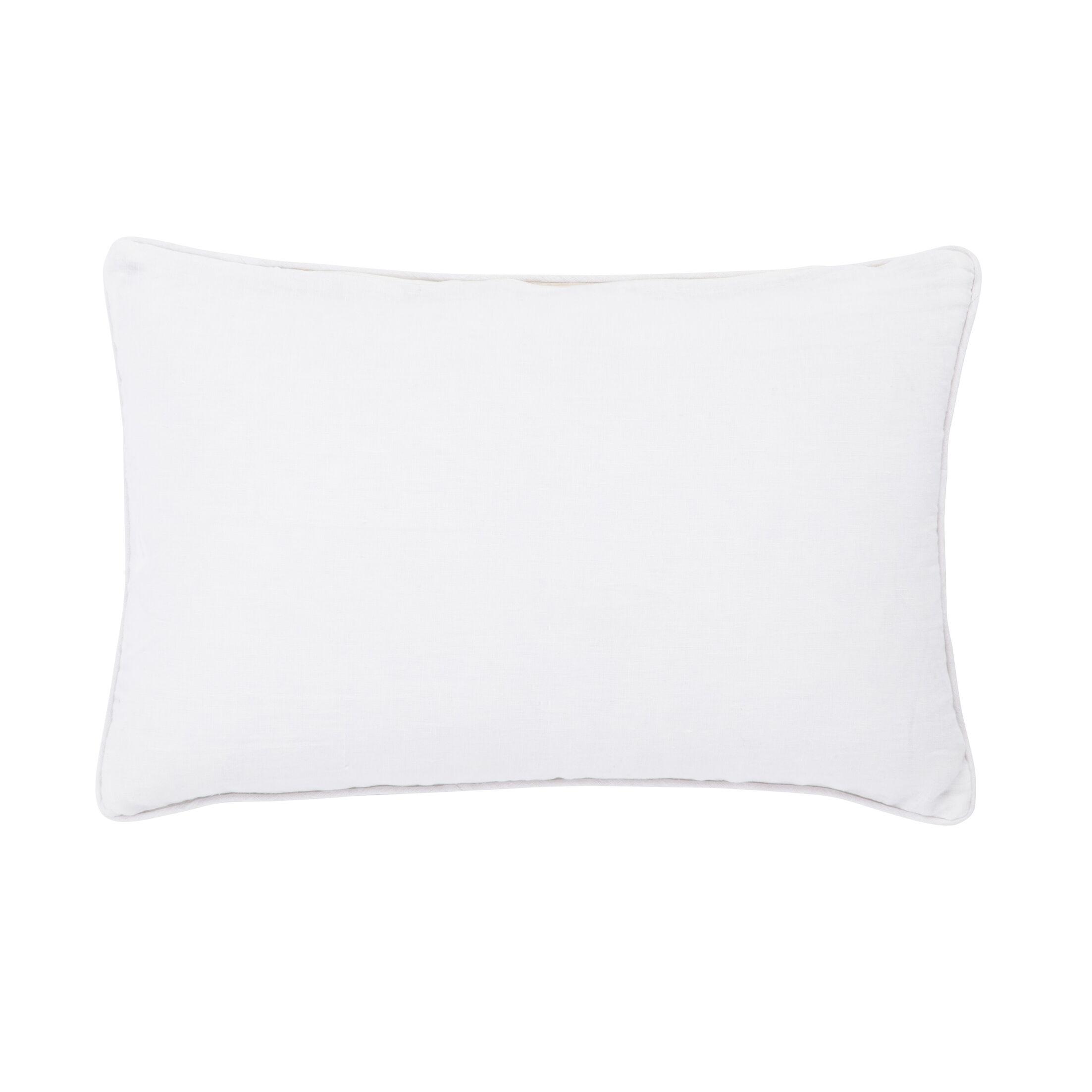 Living Priscilla Geometric Linen Lumbar Pillow Color: Blue/Ivory, Fill: Polyester / Polyfill