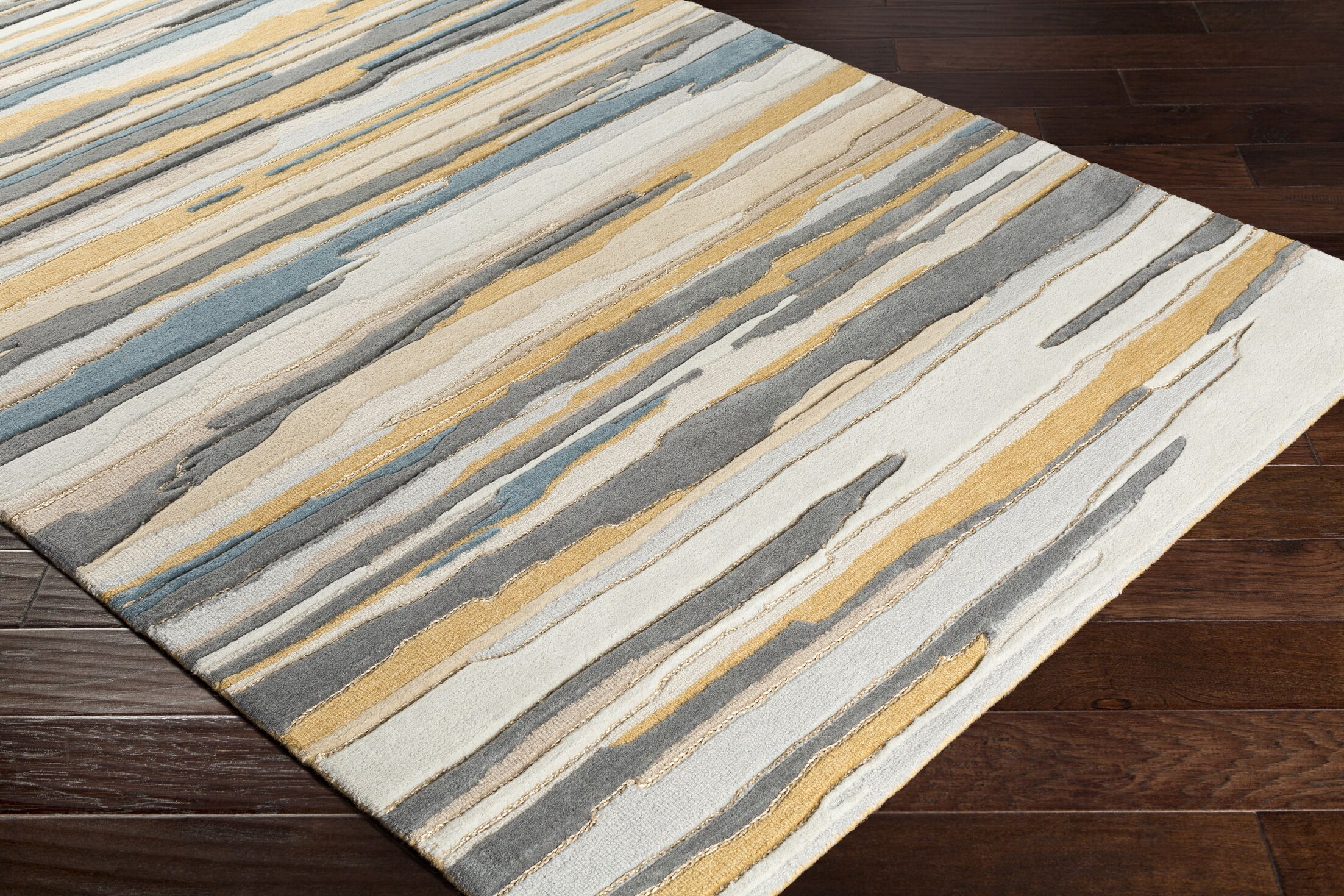 Farlow Hand-Tufted Gray/Gold Area Rug Rug Size: Rectangle 8' x 10'