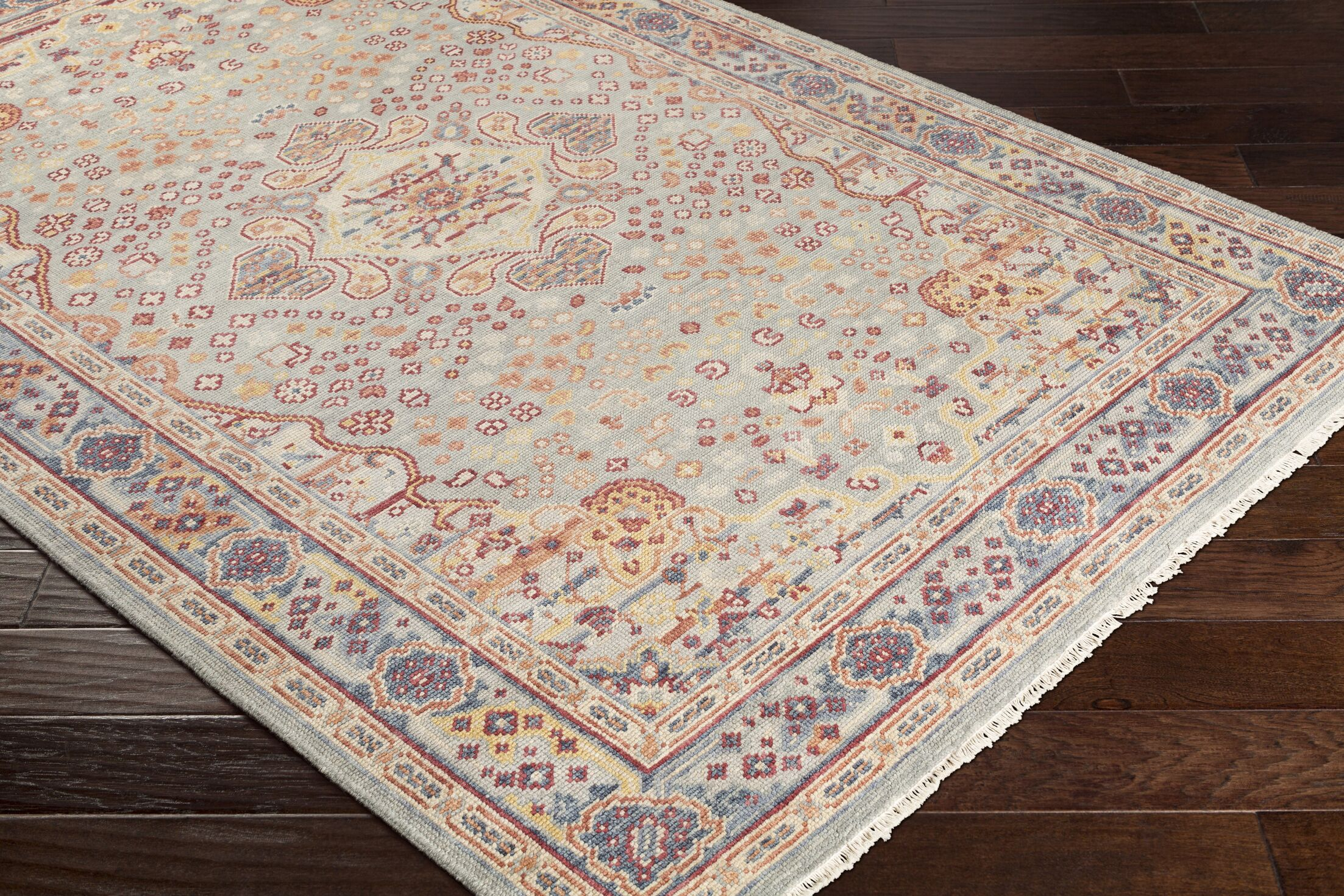 Pettry Hand-Knotted Wool Orange/Sage Area Rug Rug Size: Rectangle 3'6