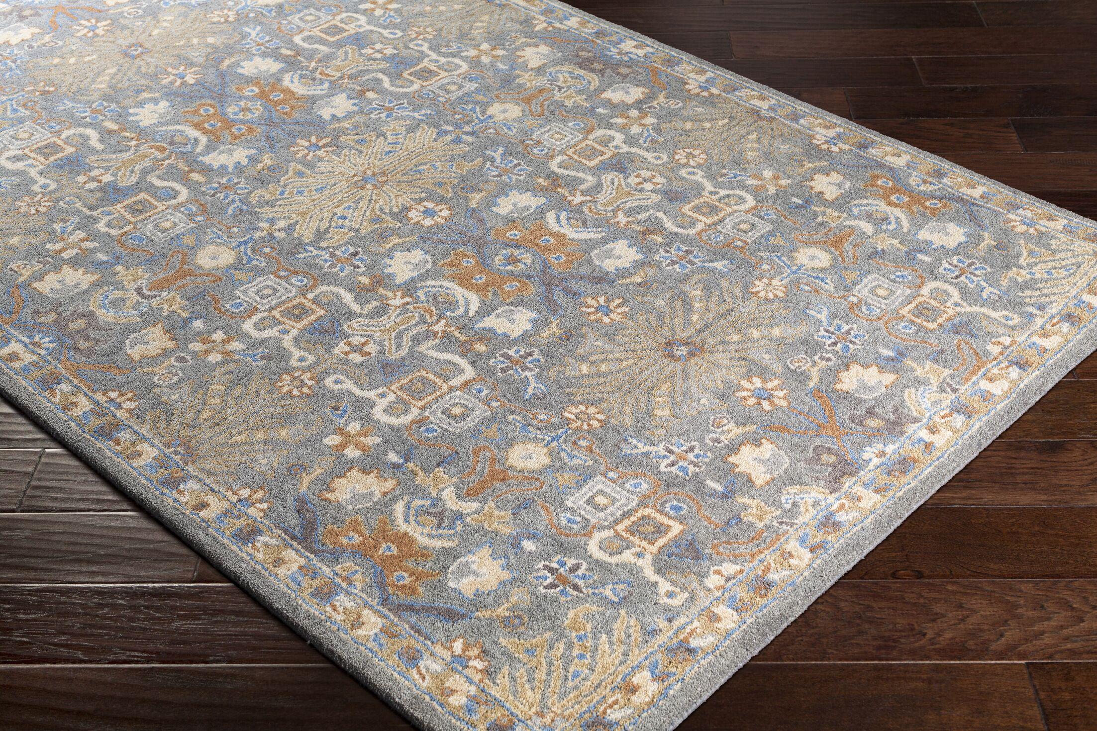 Pewitt Hand-Tufted Wool Navy/Medium Gray Area Rug Rug Size: Rectangle 5' x 7'6