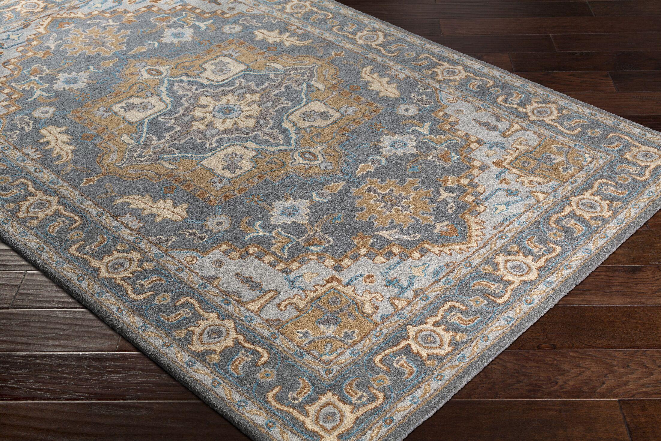 Pewitt Hand-Tufted Medium Wool Gray/Tan Area Rug Rug Size: Rectangle 5' x 7'6