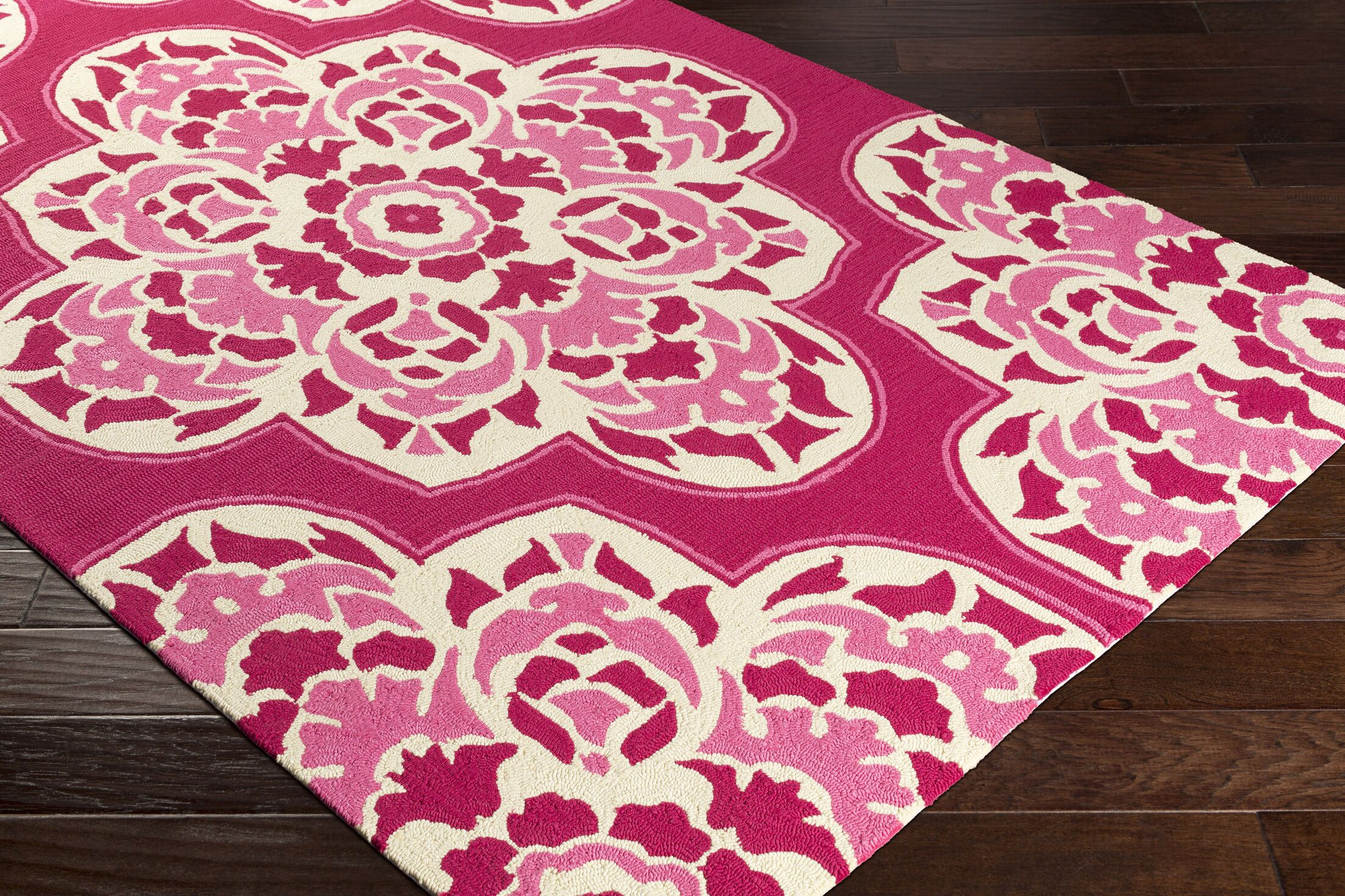 Pelchat Hand-Hooked Hot Pink Indoor/Outdoor Area Rug Rug Size: Rectangle 9' x 12'