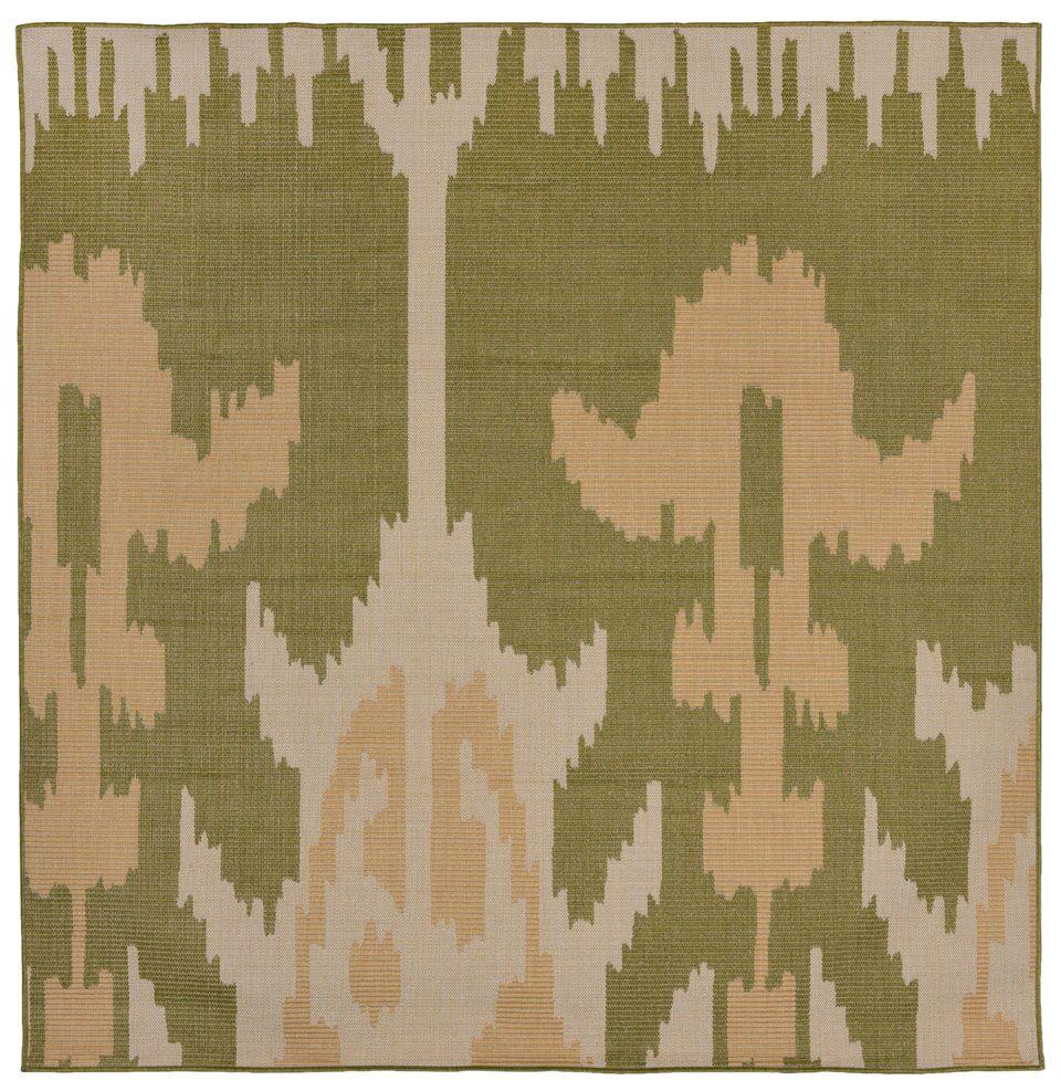 Gorski Ikat Green/Ivory Indoor/Outdoor Area Rug Rug Size: Square 7'9